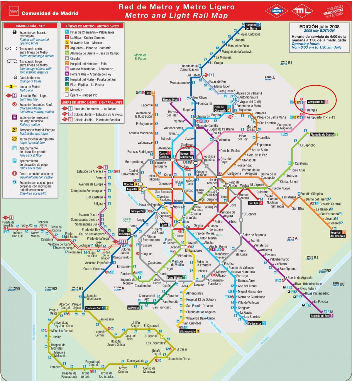 De Luchthaven Van Madrid Metro Kaart Madrid Metro Kaart Van De